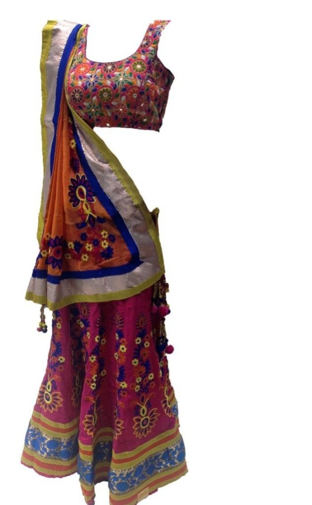 43-pink-worked-choli-with-orange-dupatta